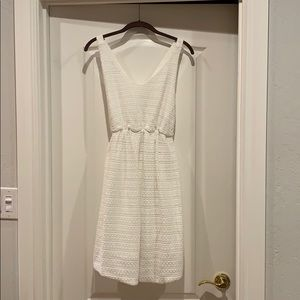 White knit cross back maternity dress